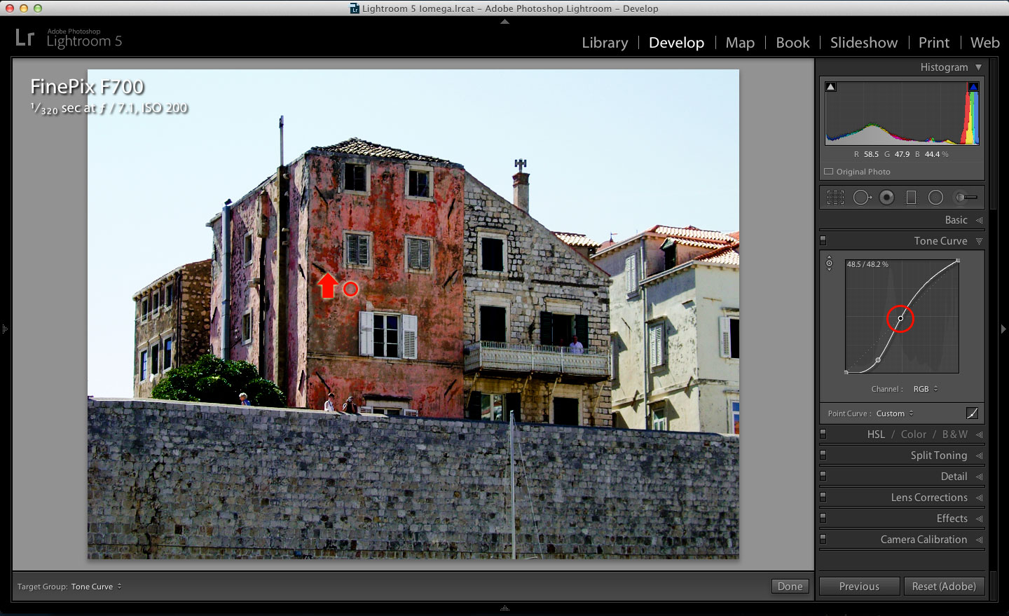 how to fix overexposed area in lightroom