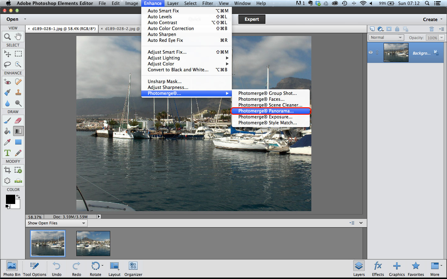 how to make a panorama in photoshop elements