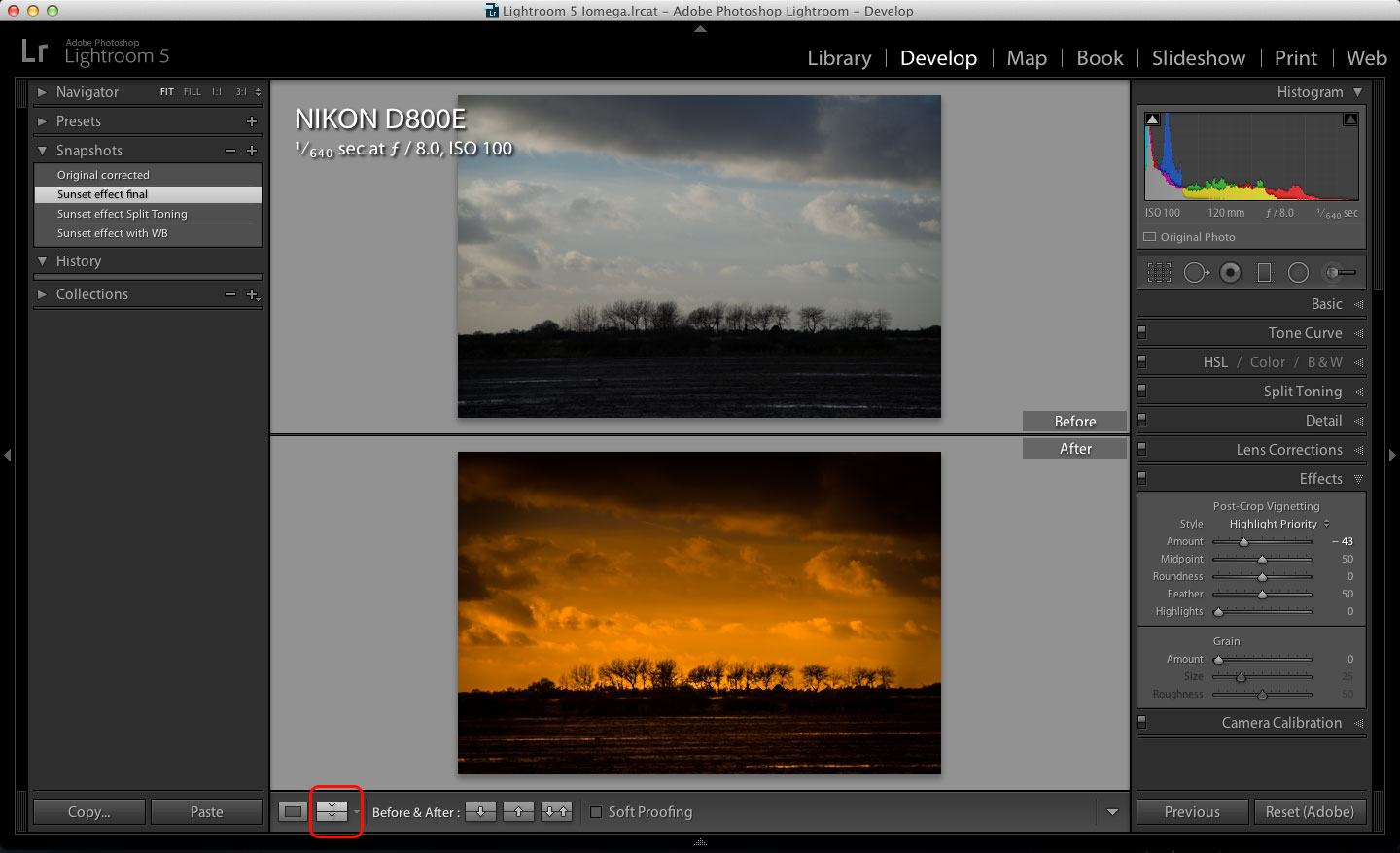 how to get rid of incadenct light in lightroom