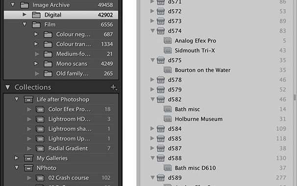 Aperture can create albums within projects, but Lightroom insists on separating folders and collections completely.