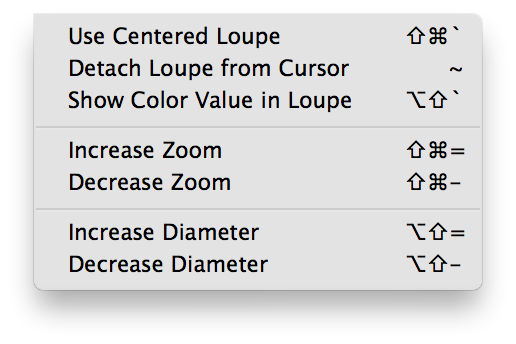 Aperture Loupe options